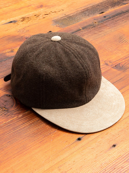 2 Tone Wool Cap in Khaki Green/Beige
