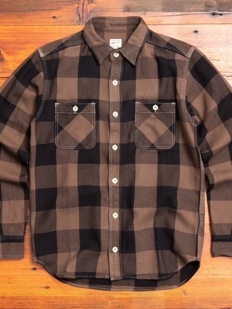 Herringbone Flannel Shirt in Brown