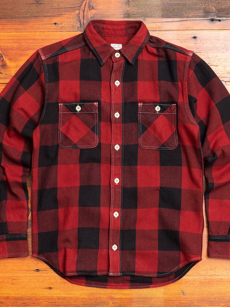 Herringbone Flannel Shirt in Red
