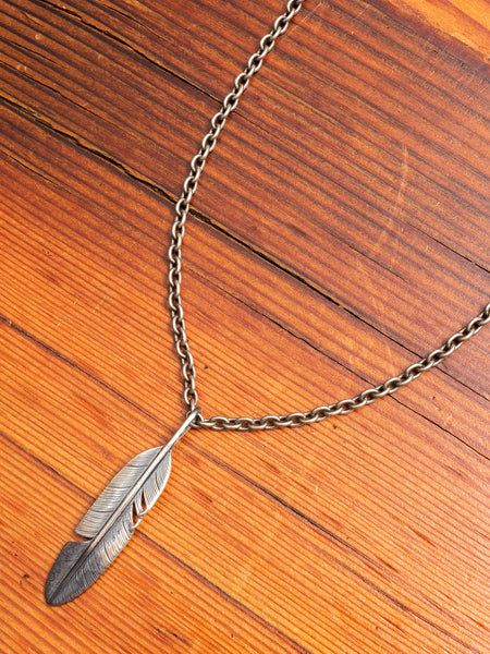 Pherrows x Peace Feather Necklace in Silver