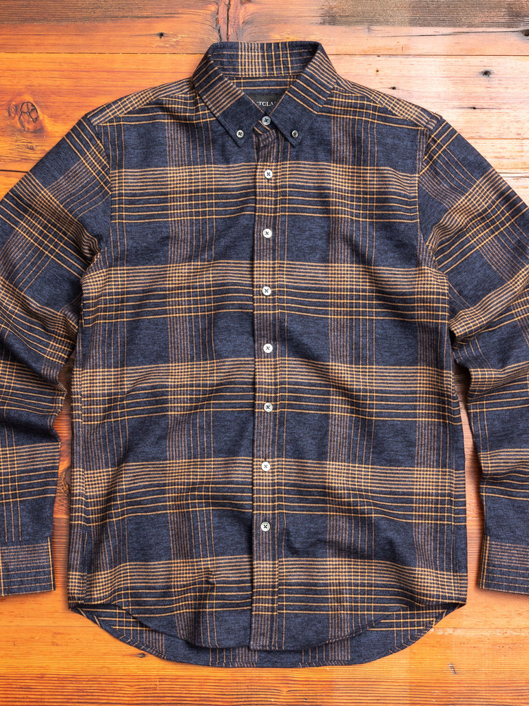 Glencheck Flannel Button-Down Shirt in Navy/Camel