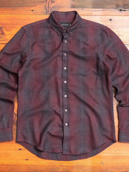 Shadow Plaid Flannel Button-Down Shirt in Maroon