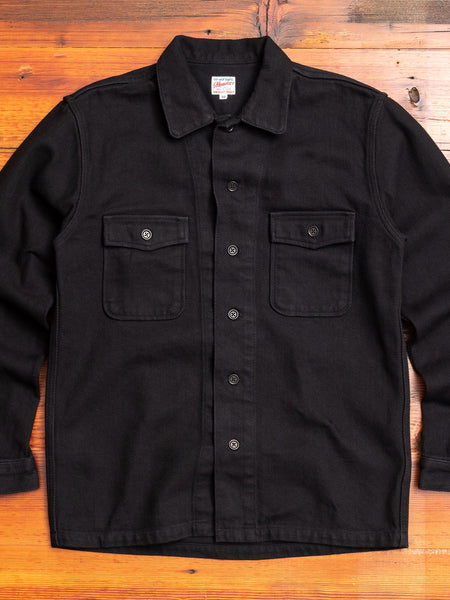 Heavyweight Dobby Sashiko Work Shirt in Black