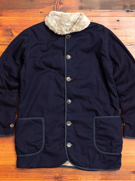 Twill Microfur Double Faced Short Coat in Indigo