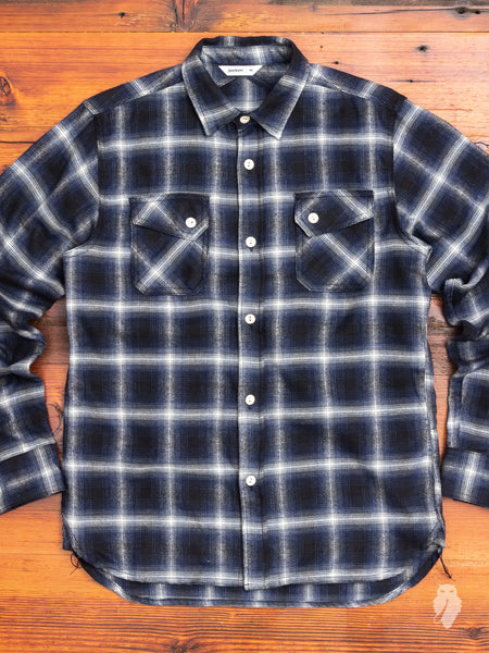 Crosscut Flannel in Navy Ombre Check