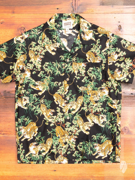 """Japanese Tigers"" Aloha Shirt in Black"