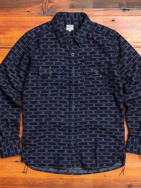 05-261 Ikat Jacquard Button-Down Shirt in Indigo
