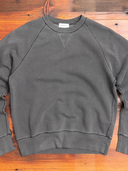 Loose Stitch Crewneck Sweater in Washed Black