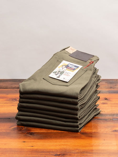 10oz Selvedge Army Green Duck Canvas - Weird Guy Fit