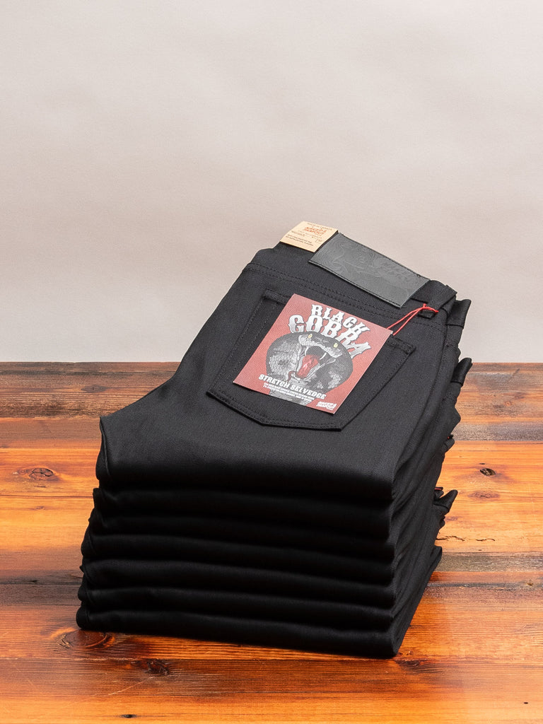 """Black Cobra Stretch"" 12oz Selvedge Denim - Weird Guy Fit"