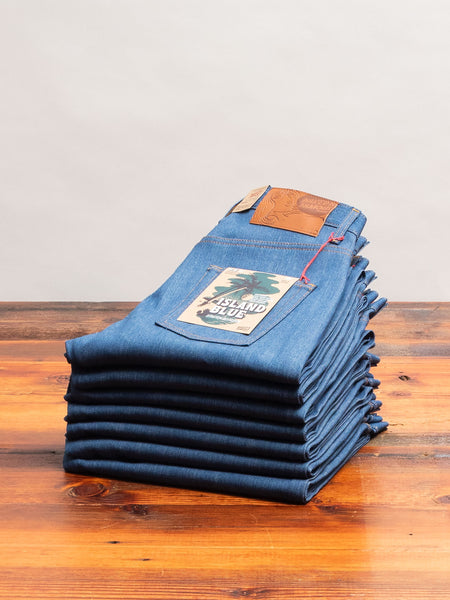 """Island Blue"" 9.5oz Stretch Selvedge Denim - Easy Guy Fit"