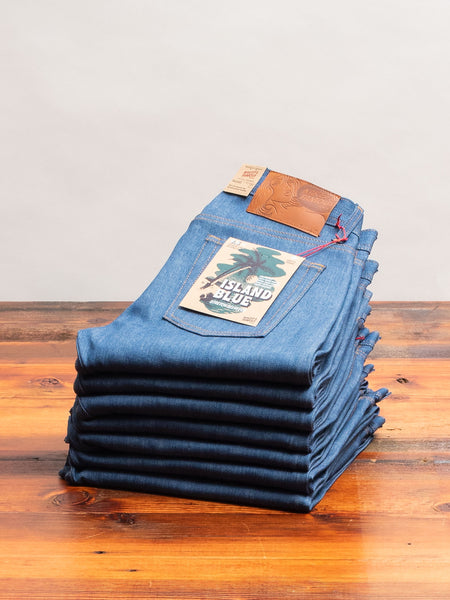 """Island Blue"" 9.5oz Stretch Selvedge Denim - Weird Guy Fit"
