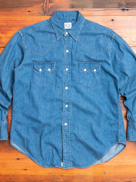 Vintage Fit Western Shirt in Washed Denim