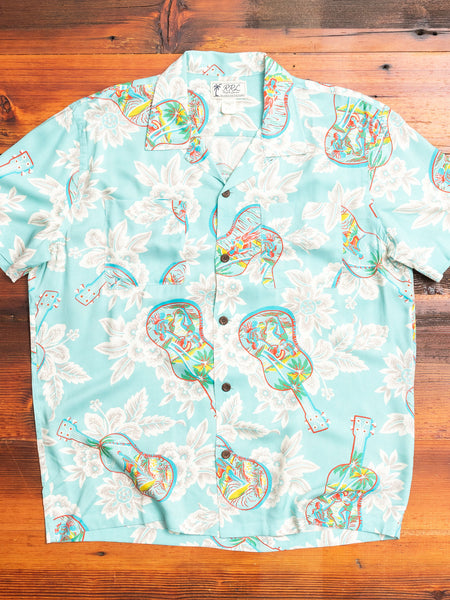 Tropical Print Camp Shirt in Aqua Multi