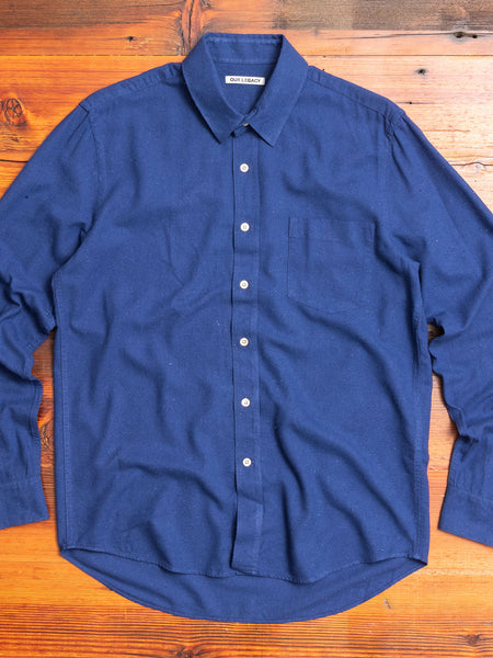 Classic Shirt in Scilla Blue Silk Noil