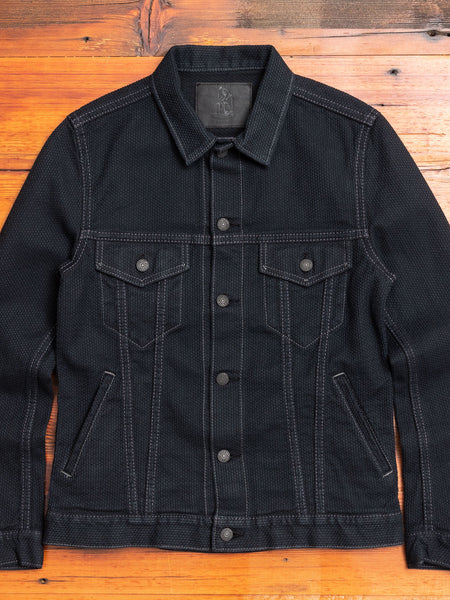 6097-BB Selvedge Sashiko Type-3 Jacket in Double Black