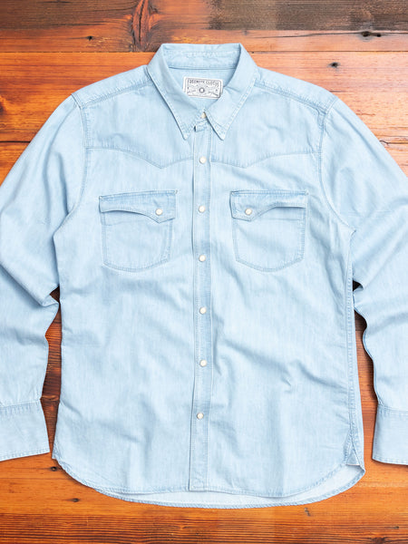 Calico Western Shirt in Bleached Denim
