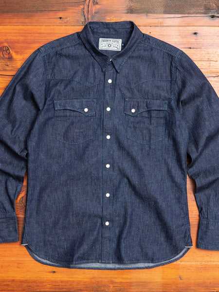 Calico Western Shirt in Rinsed Denim