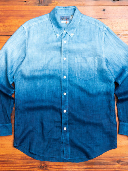 """Gradation"" Linen Button-Down Shirt in Indigo"