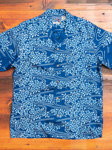"""Yamazakura and Ryusui"" Cabana Shirt in Navy"