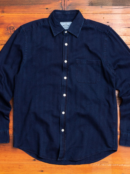 Herringbone Button-Up Shirt in Indigo