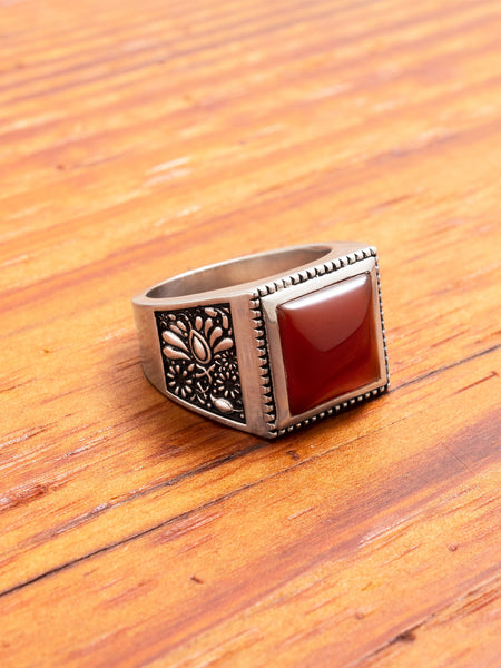 Buick Ring in Silver/Red Garnet