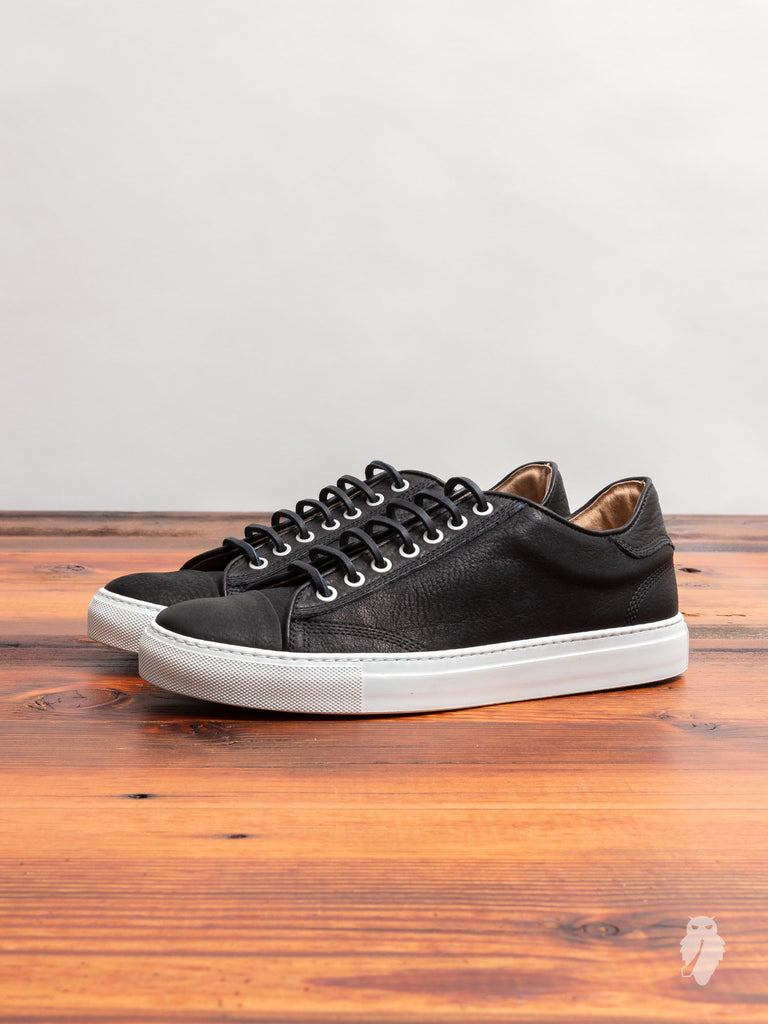Leather Low-Top Sneaker in Black