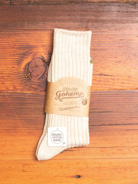 """Go Hemp"" Crew Sock in White"