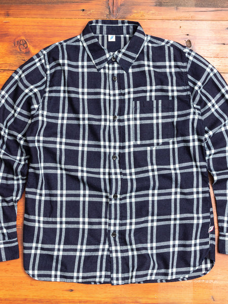 Flannel Check Button Up Shirt in Indigo