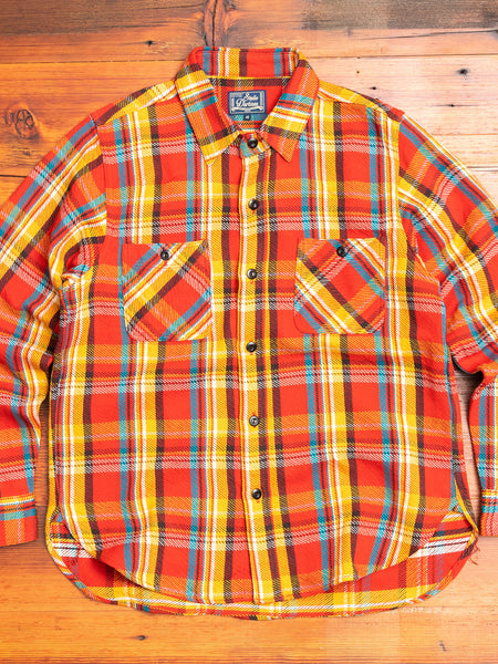 Heavy Flannel Button-Up Shirt in Red
