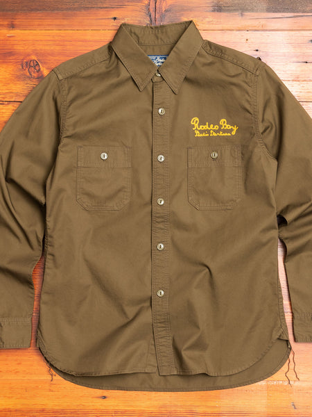 """Rodeo Boy"" Embroidered Work Shirt in Olive"