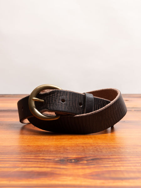 """Terrance"" Tumbled Leather Belt in Brown"