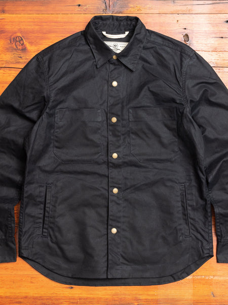 Waxed Canvas Patrol Shirt in Black