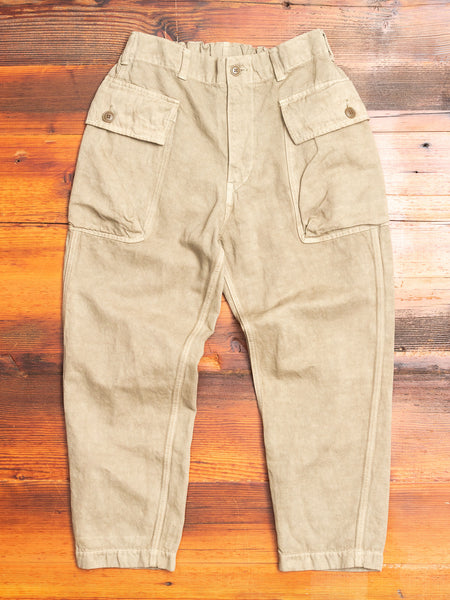 Linen Military Trousers in Beige