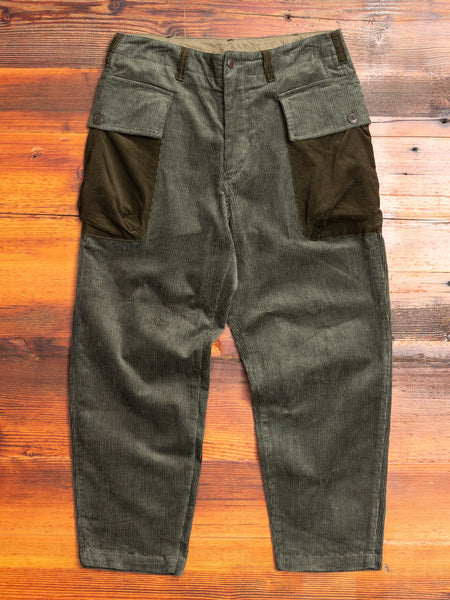 Patchwork Military Trousers in Khaki Corduroy