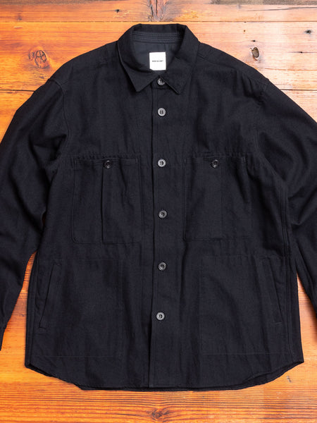 Wool Shirt Jacket in Dark Navy