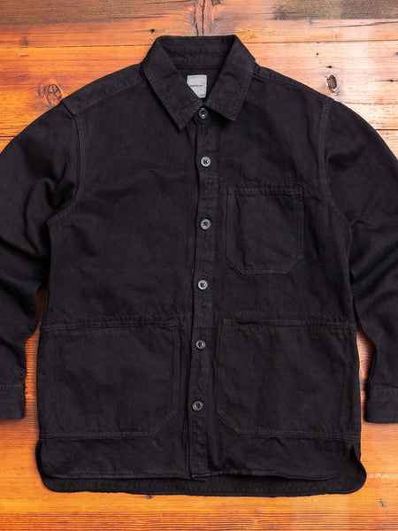 Linen Shirt Jacket in Black