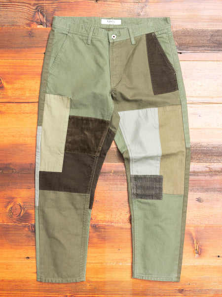 Boro Patchwork Pants in Olive