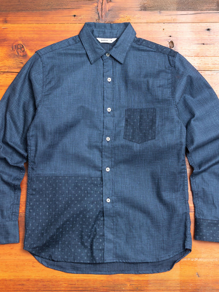 Indigo Block Button-Down Shirt