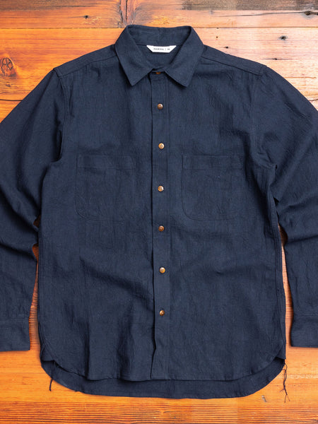 Linen Button-Down Shirt in Navy
