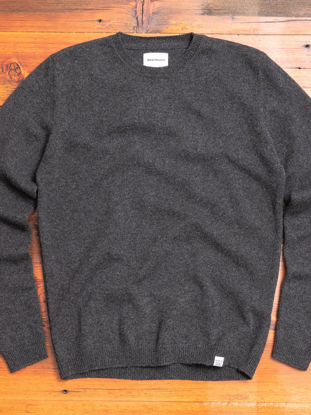 Sigfred Lambswool Sweater in Charcoal Melange