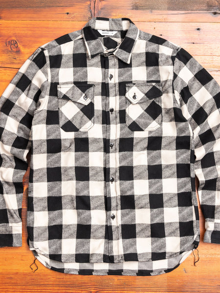 """Drunk Check"" Crosscut Flannel in Black/White"