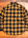 """Drunk Check"" Crosscut Flannel in Mustard/Black"
