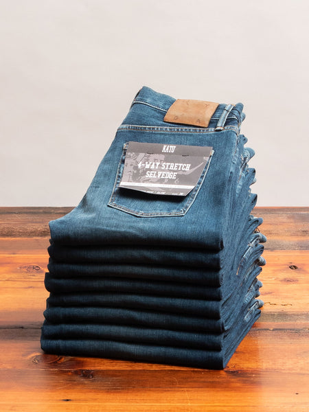 """Rain"" 10.5oz Washed Indigo Stretch Selvedge Denim - Pen Slim"