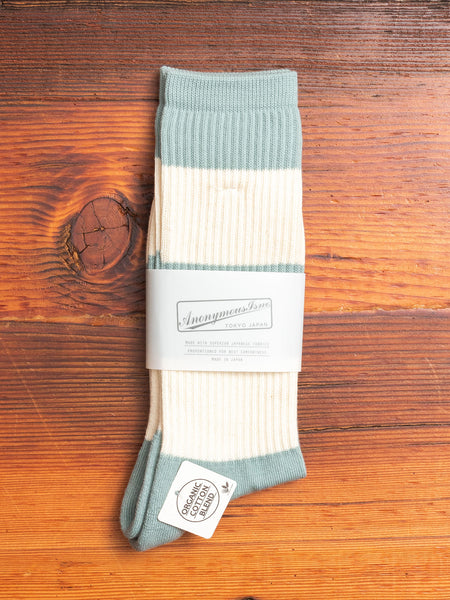Organic Cotton Thick Stripe Crew in Mint