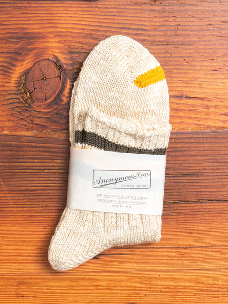 Slub Stripe 3/4 Sock in Beige
