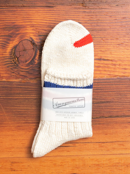Slub Stripe 3/4 Sock in White