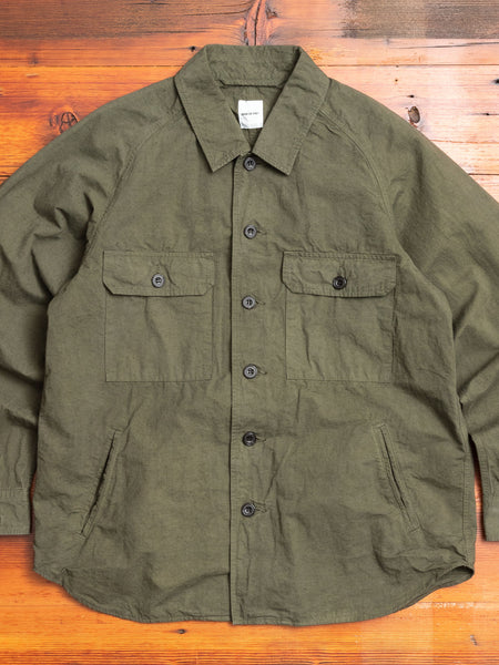 Hemp Shirt Jacket in Khaki
