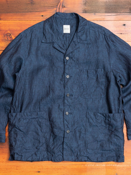Linen Shirt Jacket in Ink Blue
