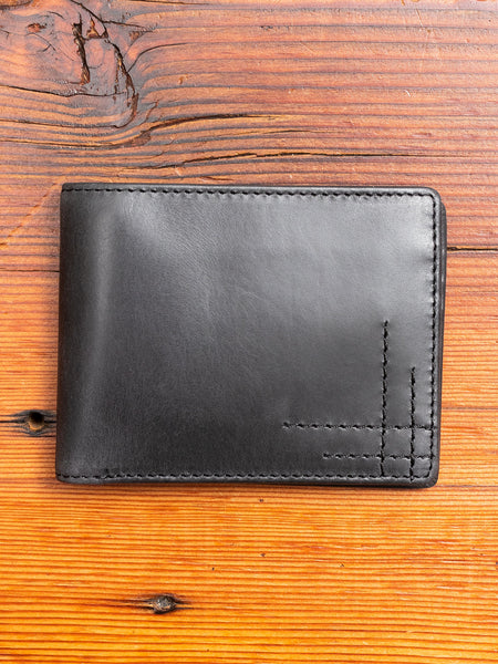 Bifold Wallet in Black Cowhide